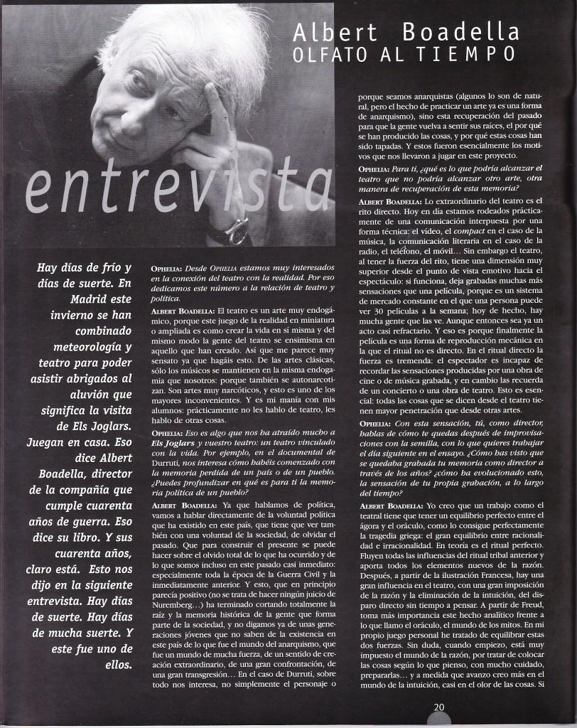 """Albert Boadella: olfato al tiempo (roughly: """"A Nose for Timing,"""" in Spanish)"""