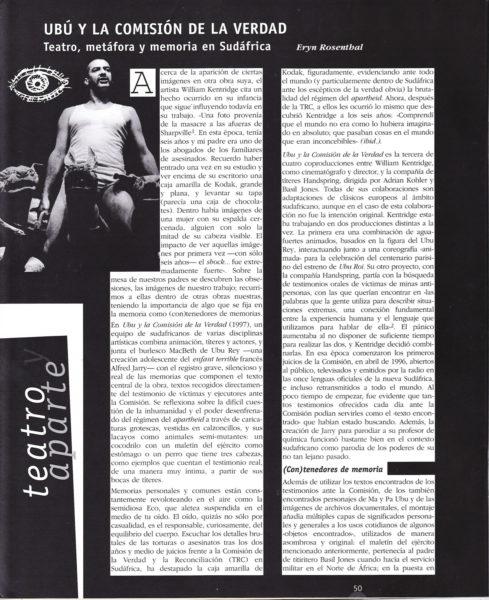 Eryn Rosenthal OPHELIA Ubu y la Comisión de la Verdad Teatro metáfora y memoria en Sudáfrica p1 489x600 Ubú y la Comisión de la verdad: Teatro, metáfora y memoria en Sudáfrica