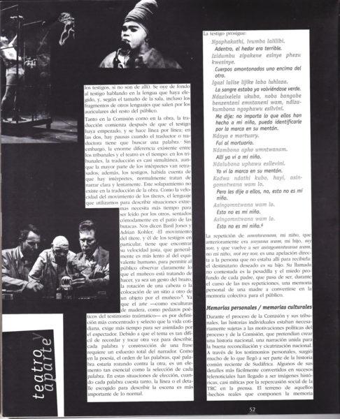 Eryn Rosenthal OPHELIA Ubu y la Comisión de la Verdad Teatro metáfora y memoria en Sudáfrica p3 486x600 Ubú y la Comisión de la verdad: Teatro, metáfora y memoria en Sudáfrica